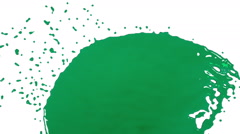Green fluid stream hits a surface. dyed oil Stock Footage