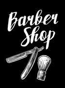 BarberShop. Vector black and white illustrations and typography elements. Han Stock Illustration