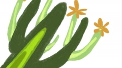 We draw a cactus. Digital drawing. Stock Footage
