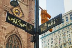 Wall street and Broadway signs in New York City Stock Photos
