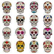 Set of Sugar skulls isolated on white background. Day of the dea Stock Illustration