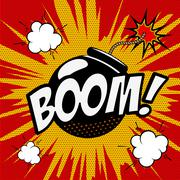 Boom! Comic style phrase on colorful background. Cartoon bomb ex Piirros