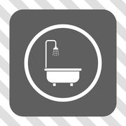 Shower Bath Rounded Square Button Stock Illustration