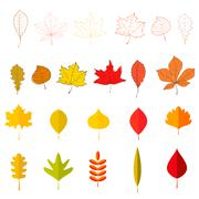Set of the yellow autumn leaves. Vector design element. Stock Illustration