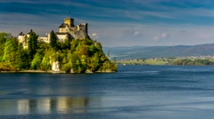 Time lapse - medieval Dunajec castle in Niedzica by lake Czorsztyn, Poland. Stock Footage