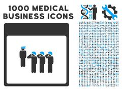 Army Squad Calendar Page Icon With 1000 Medical Business Symbols Stock Illustration