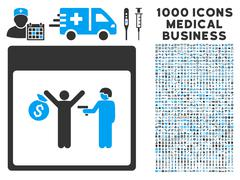 Arrest Calendar Page Icon With 1000 Medical Business Symbols Stock Illustration