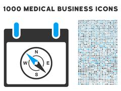 Compass Calendar Day Icon With 1000 Medical Business Symbols Piirros