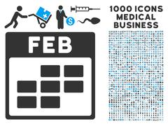 February Calendar Grid Icon With 1000 Medical Business Symbols Stock Illustration