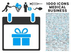 Gift Box Calendar Day Icon With 1000 Medical Business Symbols Stock Illustration