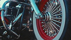 Close up of a red and white custom bike wheel Stock Footage