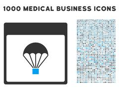 Parachute Calendar Page Icon With 1000 Medical Business Symbols Piirros