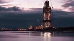 Under construction high-rise building Stock Footage