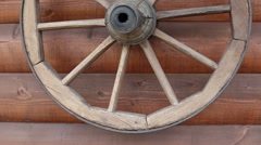 Old wooden decorative wheel Stock Footage