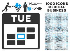 Tuesday Calendar Grid Icon With 1000 Medical Business Symbols Stock Illustration