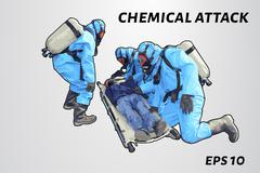 People in chemical protection save the victim. Laying on a stretcher gassed m Stock Illustration