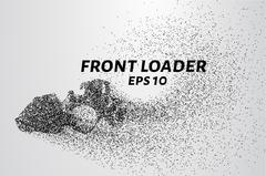 Front loader from the particles. Construction equipment is scattered on small Stock Illustration
