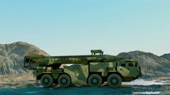 Mobile nuclear ballistic missile. Russian ballistic. Realistic animation. Stock Footage