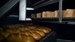Bakery. Baked Different Tupes of Bread Moving on Coveyers on 2 Levels. Fresh Stock Footage