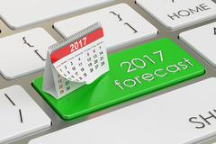 2017 forecast concept on the keyboard, 3D rendering Stock Illustration
