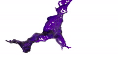 Slow motion purple splash of liquid. dyed oil Stock Footage