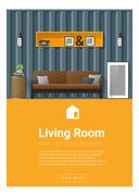 Interior design Modern living room banner Stock Illustration