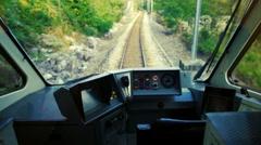 Cockpit of a runaway train Stock Footage