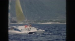 1961: enjoying the water from the view of a wind driven sailboat enjoying life Stock Footage
