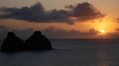 Sunset at  Two Brothers Rock In Fernando De Noronha, Brazil. Paradise summer Stock Footage