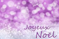 Pink Bokeh Background, Snow, Joyeux Noel Means Merry Christmas Stock Illustration