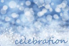 Blue Bokeh Christmas Background, Snow, Text Celebration Stock Illustration