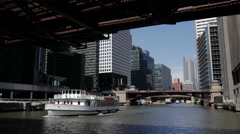 Beautiful Chicago River and Architecture POV from Tour Boat Stock Footage