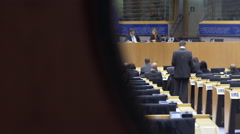 People working at the European Parliament Stock Footage