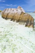 A stunning weather shaped granite rock near Source D'Argent in La Digue, Seyc Stock Photos