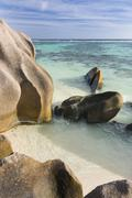 View from the top of a rock at Anse Source D'Argent in La Digue, Seychelles Stock Photos
