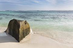 Beautiful white beach Anse Source D'Argent in La Digue, Seychelles with a sce Stock Photos