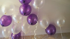 White and purple balloons floating on the ceiling Arkistovideo