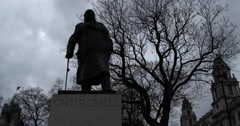 Statue of Churchill Stock Footage
