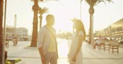 4K Happy romantic couple on vacation, outdoors in Italian city Stock Footage