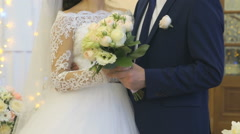 Bride and groom hugging each other on wedding Stock Footage