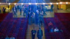 People Walking in the Cinema Below Projectors Rays Stock Footage