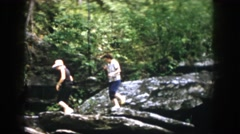 1958: three hikers walking through the woods DAYTON OHIO Stock Footage