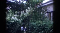 1958: backyard of house garden beautiful huge DAYTON OHIO Stock Footage