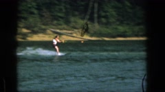 1961: dangerous sport man water skiing in a fast motion MICHIGAN Stock Footage