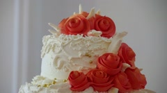 Red wedding cake close-up dessert at a wedding video feast Stock Footage