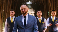 Groom have fun with friends Stock Footage