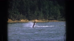 1961: man water skiing fast motion dangerous sport MICHIGAN Stock Footage