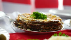 Meat dinner pie from the restaurant dinner liver video rich Stock Footage