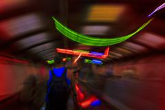 Abstract motion blurred view of a subway station. Stock Photos