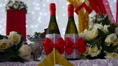 Row of chairs champagne in restaurant video laid table with food celebration Stock Footage